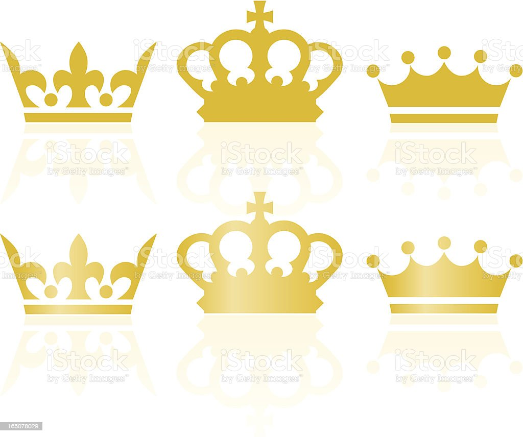 Classic Royal Crowns Icons vector art illustration