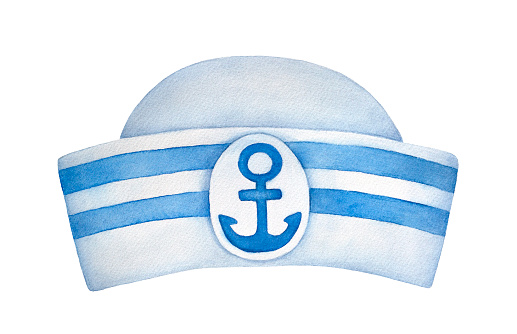 Classic sailor hat with blue stripes and decorative anchor emblem. One single object, front view. Hand painted water color sketchy drawing on white background, cutout clip art element for design.