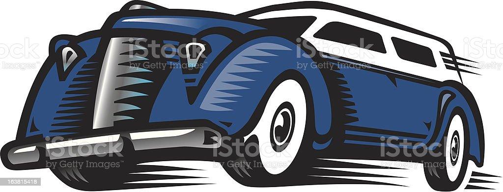 Classic Speeding Car royalty-free stock vector art
