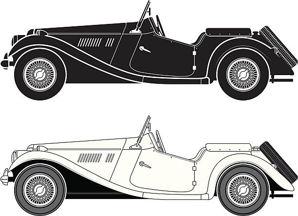 Classic sports car vector art illustration