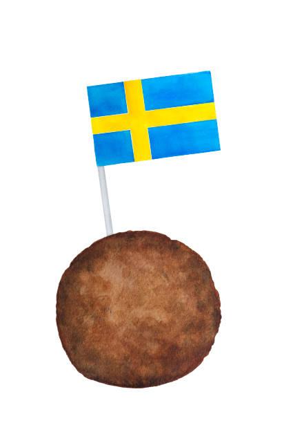 illustrations, cliparts, dessins animés et icônes de boulette suédoise classique (kottbullar) avec le drapeau du pays suède sur petite dent pick. - suede