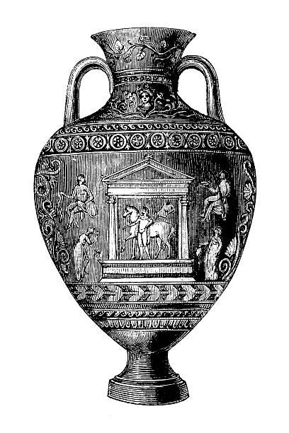 bildbanksillustrationer, clip art samt tecknat material och ikoner med classic vase   antique design illustrations - ancient white background
