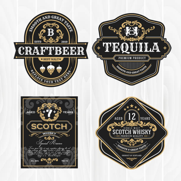 Classic vintage frame for whisky labels and antique product vector art illustration