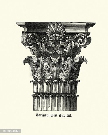 Vintage engraving of Classical Architecture, Corinthian order, Column Capital