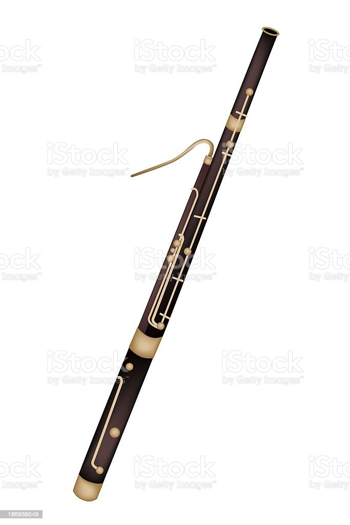 Classical Bassoon Isolated on White Background royalty-free stock vector art