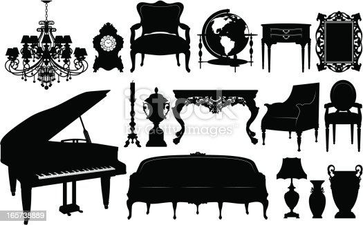 Set of design elements - Classical Furniture Silhouettes.