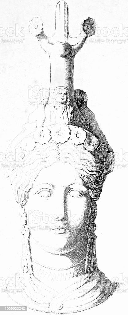 Classical greek: clay jug as head of Athene vector art illustration