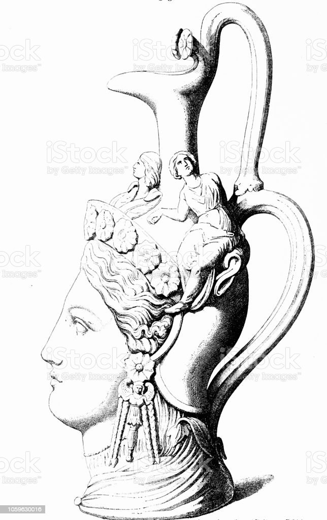 Classical greek: clay jug as head of Athene, side view vector art illustration