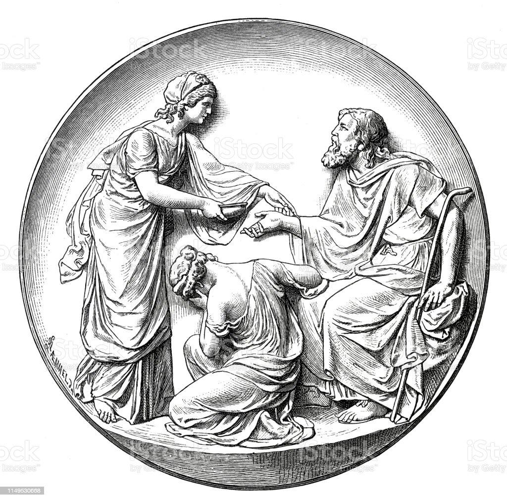 Classical Greek Goddess Antigone Stock Illustration