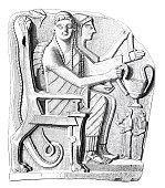 Classical greek, sparta, heroized deceased, relief