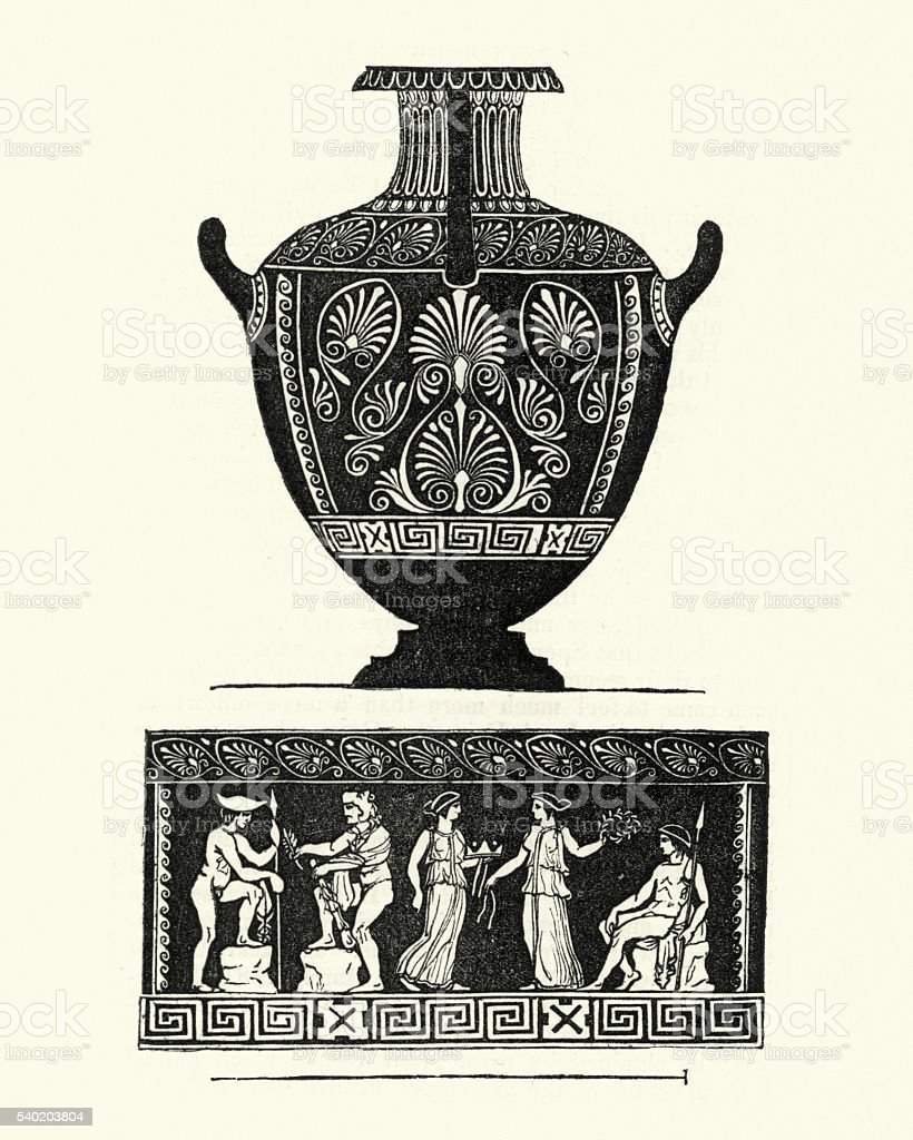 Classical greek style urn or vase vector art illustration