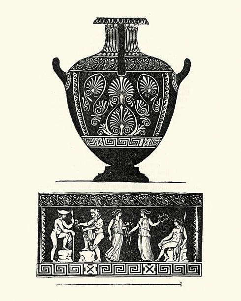 Classical greek style urn or vase vector art illustration