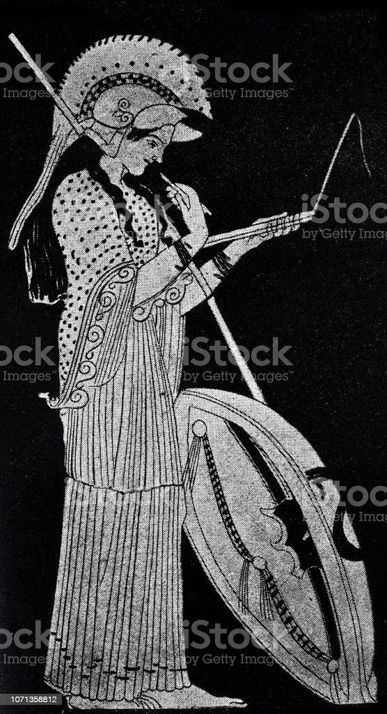 Classical greek - Writing Athene vector art illustration