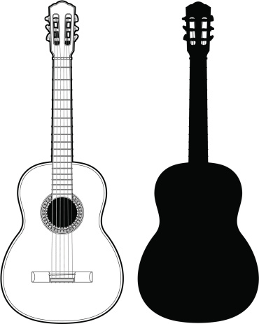 Technical illustration of a classical guitar with silhouette.