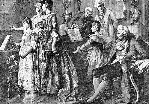 Classical music concert at Joseph Haydn's (circa 18th century). Vintage etching circa 19th century.