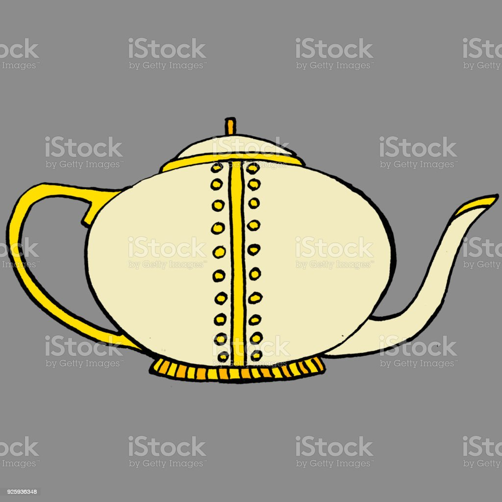 Classical Teapot vector art illustration