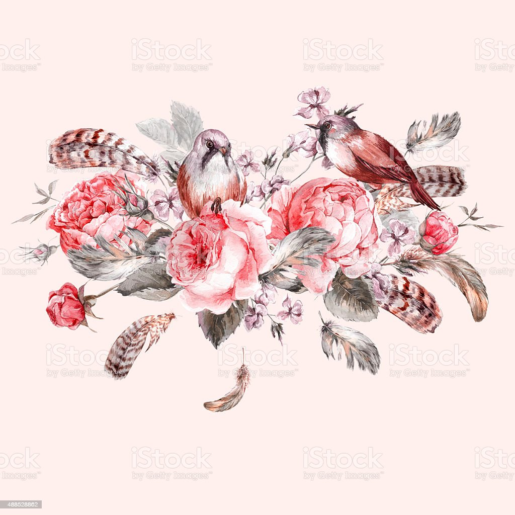Classical watercolor floral vintage greeting card with rose birds classical watercolor floral vintage greeting card with rose birds and royalty free classical watercolor floral kristyandbryce Image collections
