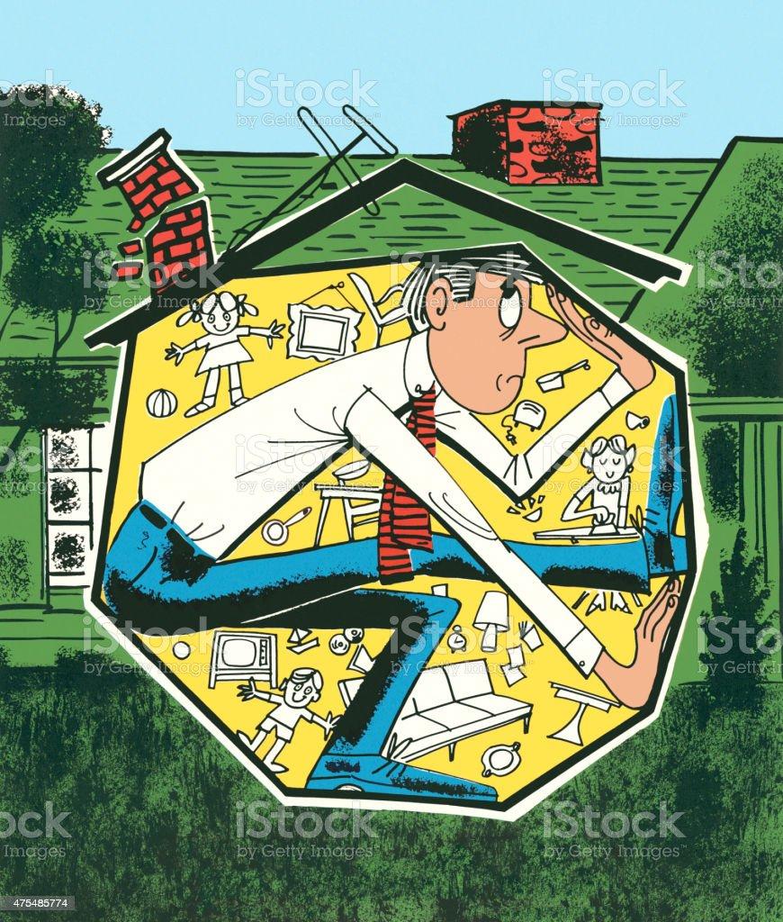 Claustrophobic Man in a House vector art illustration