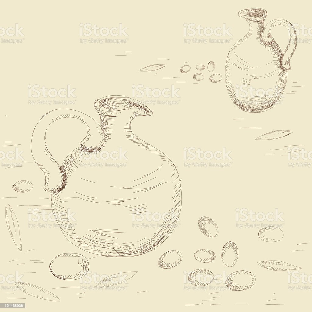 Clay Jugs And Scattered Olives, Pencil Drawing Imitation royalty-free stock vector art