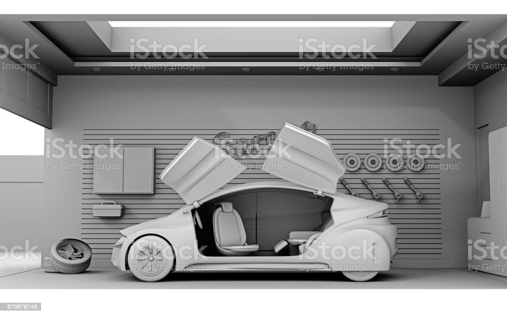 Clay model rendering van garage interieur stockvectorkunst en meer
