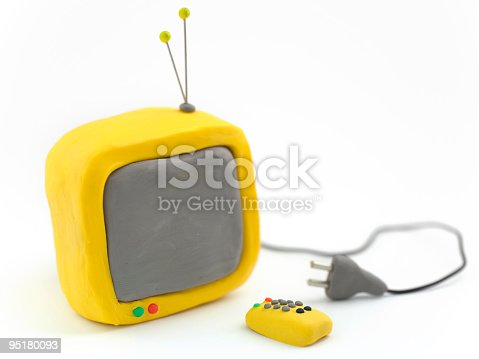 istock Clay TV with remote control and plug 95180093