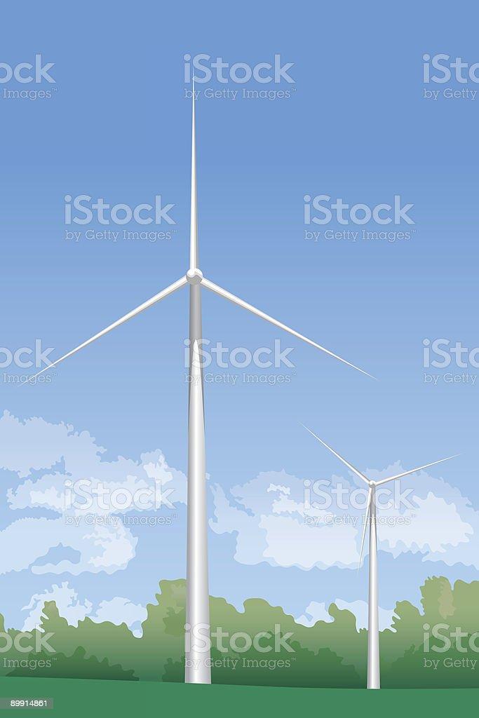 Énergie propre Eoliennes Énergie propre eoliennes – cliparts vectoriels et plus d'images de arbre libre de droits