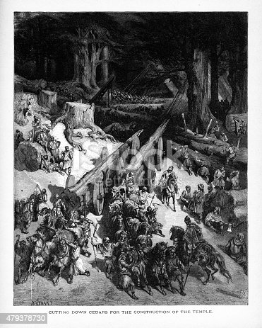 Rare and beautifully executed Engraved illustration of Clearing Cedars for King Solomon's Temple Biblical Engraving from The Popular Pictorial Bible, Containing the Old and New Testaments, Published in 1862. Copyright has expired on this artwork. Digitally restored.