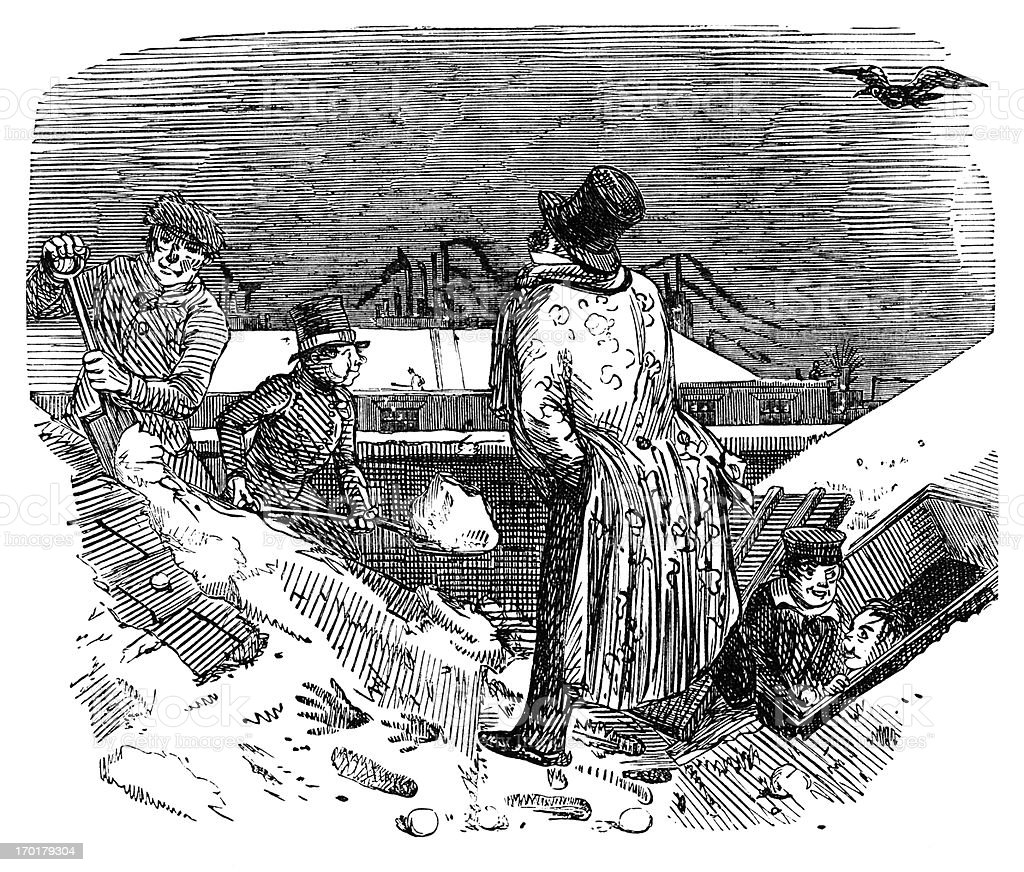 Clearing snow from the roof of a Victorian house royalty-free clearing snow from the roof of a victorian house stock vector art & more images of 1850-1859