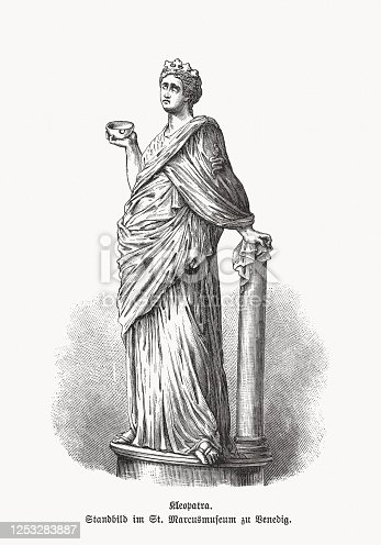 Cleopatra VII Philopator (69 - 30 BC) - last active ruler of the Ptolemaic Kingdom of Egypt. Wood engraving after a roman sculpture in Venice, Italy, published in 1893.