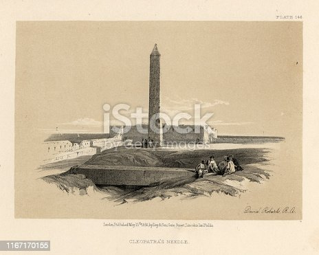 Vintage engraving of Cleopatra's Needle, Egypt, 19th Century, by David Roberts.