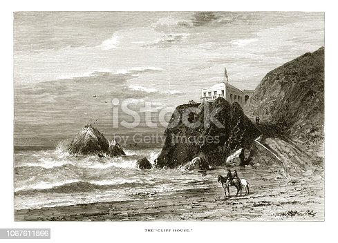 Very Rare, Beautifully Illustrated Antique Engraving of Cliff House, Golden Gate on the Coast of California, United States, American Victorian Engraving, 1872.
