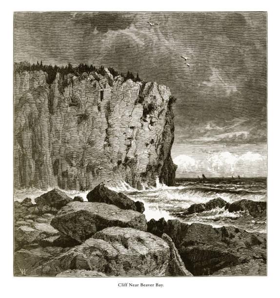 cliff near beaver bay, lake superior, minnesota, united states, american victorian engraving, 1872 - lake superior stock illustrations, clip art, cartoons, & icons