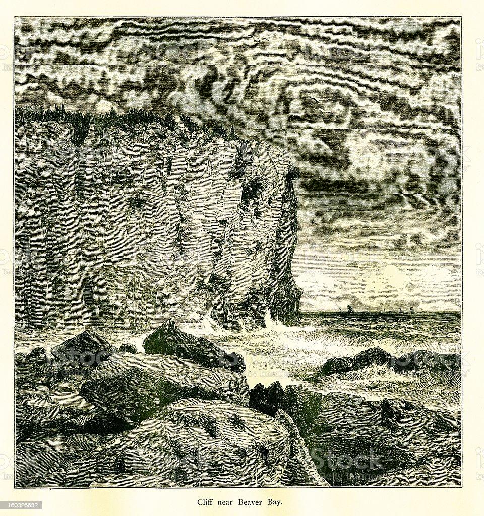 Cliff near Beaver Bay, USA royalty-free cliff near beaver bay usa stock vector art & more images of 19th century