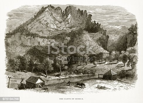 Very Rare, Beautifully Illustrated Antique Engraving of Cliffs of Seneca, Seneca, West Virginia, United States, American Victorian Engraving, 1872. Source: Original edition from my own archives. Copyright has expired on this artwork. Digitally restored.