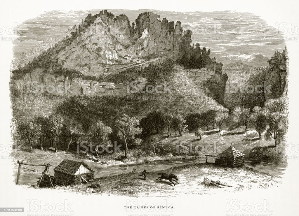 Cliffs of Seneca, Seneca, West Virginia, United States, American Victorian Engraving, 1872 vector art illustration