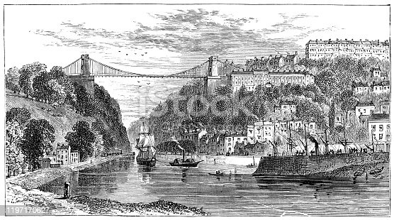 Clifton Suspension Bridge in the suburb of Clifton at the city of Bristol in Southwest England, England, Uk. Vintage etching circa 19th century.