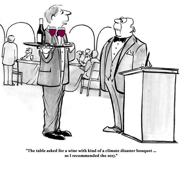 ilustrações, clipart, desenhos animados e ícones de vinho de catástrofe climática - fine dining