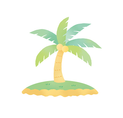Clip art of palm tree in watercolor
