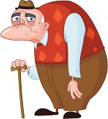 Clip art of sad, old man with cane and hunchback