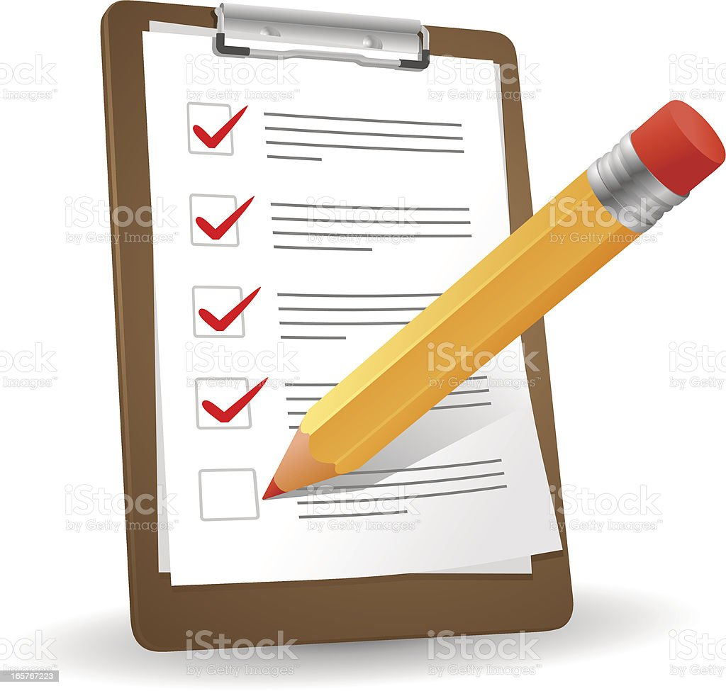 Clipboard and pencil royalty-free clipboard and pencil stock vector art & more images of check mark