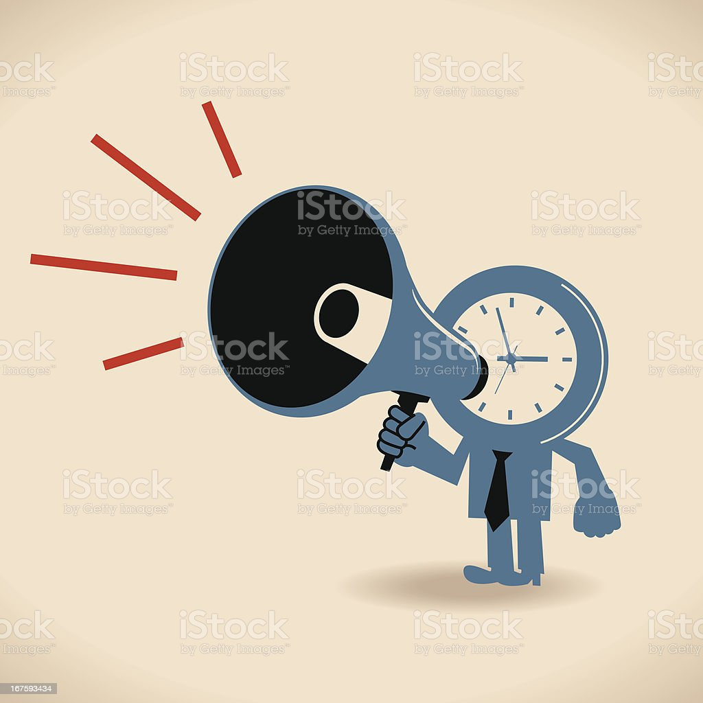 Clock character shouting in a megaphone royalty-free stock vector art