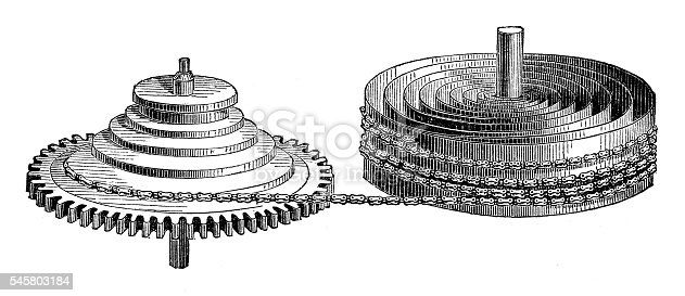 istock Clock fusee and mainspring 545803184
