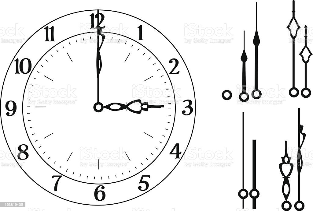 Clock with Different Hands royalty-free stock vector art