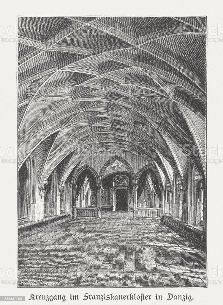 Cloister, Franciscan monastery, Gdansk (Danzig), wood engraving, published 1884 vector art illustration