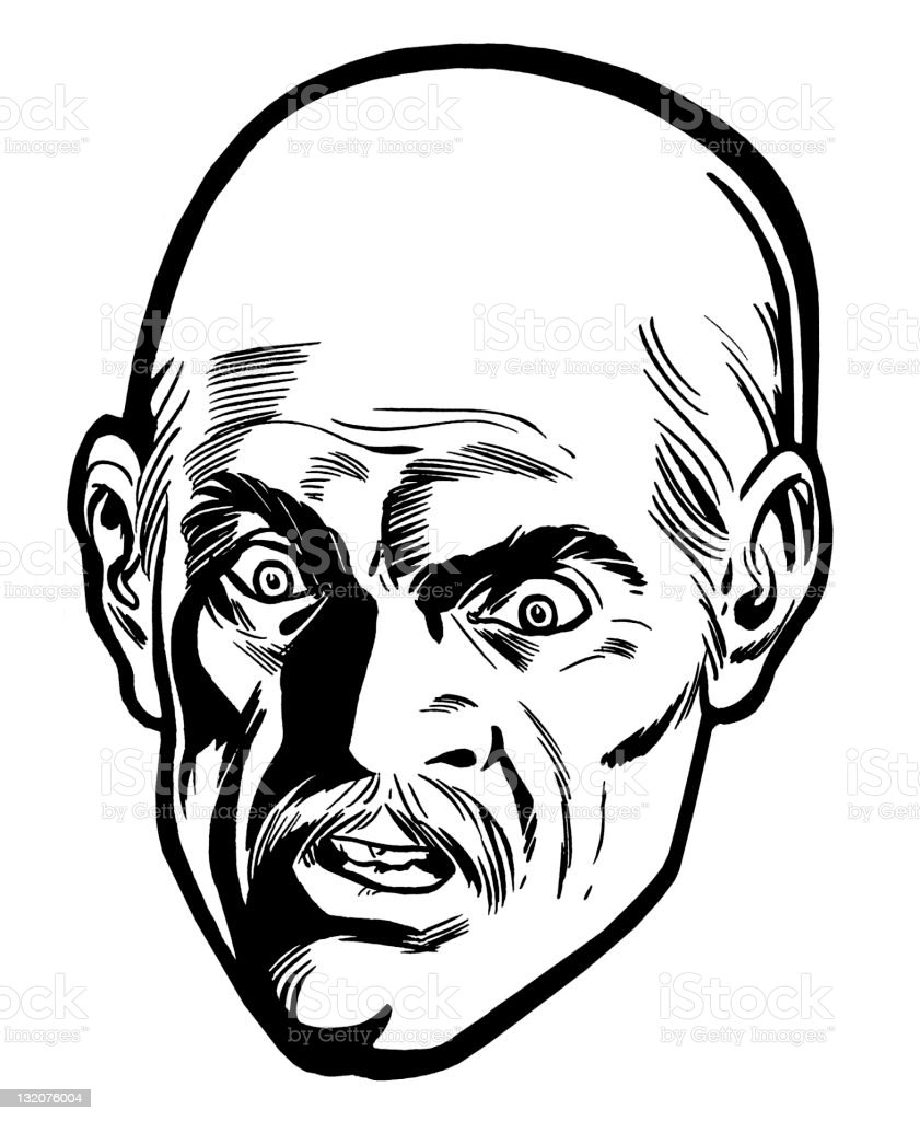 Close up of Angry Bald Man royalty-free close up of angry bald man stock vector art & more images of adult