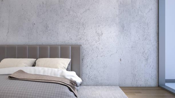 illustrations, cliparts, dessins animés et icônes de gros plan du lit avec des oreillers dans la chambre, rendu 3d - architecture intérieure beton