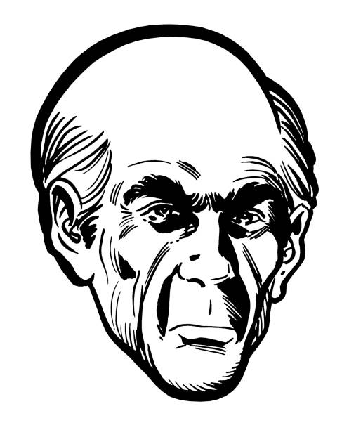 close up of creepy bald man - old man clipart stock illustrations, clip art, cartoons, & icons