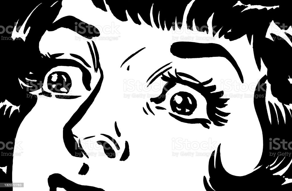 Close up of Frightened Woman's Eyes vector art illustration