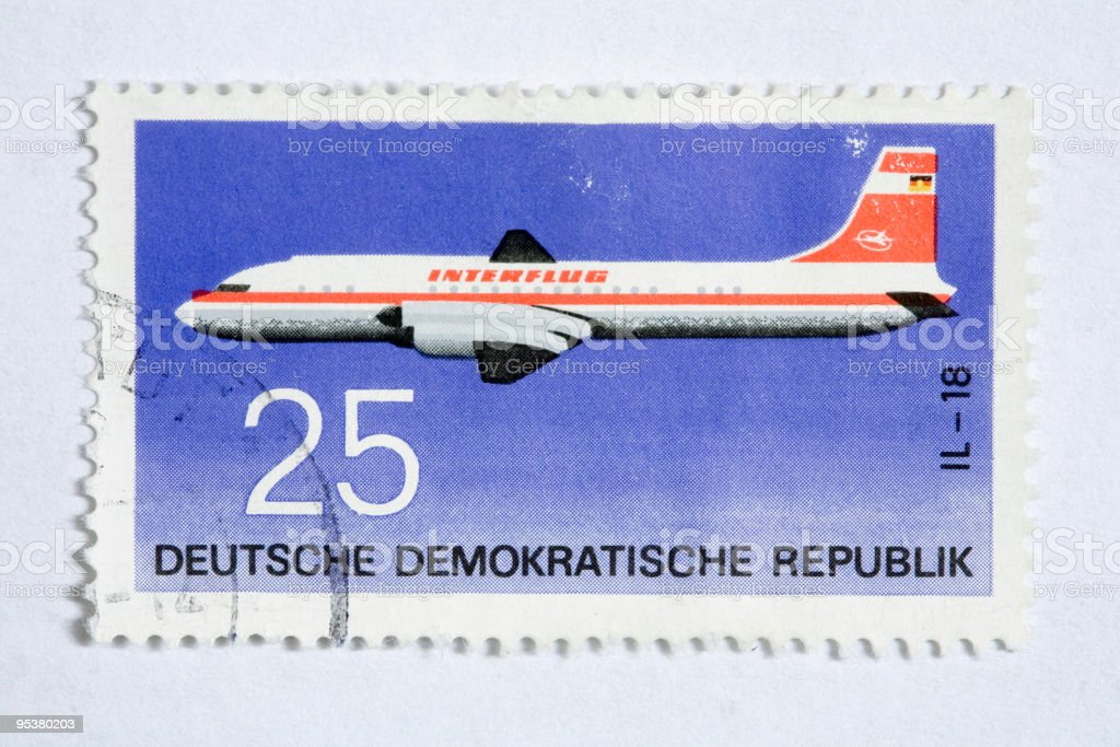 Close up of german post stamp vector art illustration