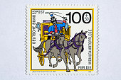Close up of german post stamp